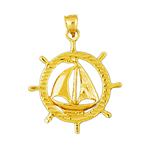 14k gold sailboat in ship wheel pendant
