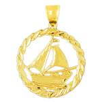 14k gold sailboat in rope frame ship wheel charm pendant