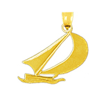 14k gold sailboat mini charm