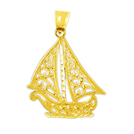 14k gold filigree sailing sailboat pendant