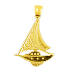 14k gold sailboat charm pendant