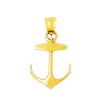 14k gold 22mm mariner ship anchor charm pendant
