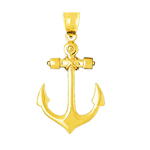 14k gold 32mm mariner ship anchor charm pendant