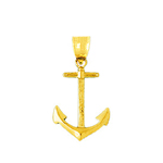 14k gold 26mm mariner ship anchor charm pendant