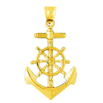 14k gold 28mm ship wheel and anchor charm pendant