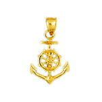 14k gold ship anchor and wheel charm