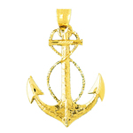14k gold sailor rope with ship anchor charm pendant