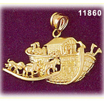14k gold noah's ark with animals pendant