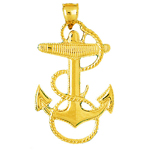14k gold sailor rope with mariner anchor charm pendant