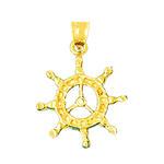 14k gold sailor ship wheel charm