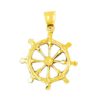 14kt gold ship wheel nautical pendant