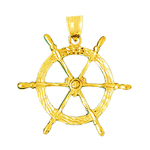 14k gold ship wheel nautical pendant