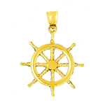 14 kt gold nautical ship wheel pendant