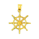 14k gold ship wheel pendant