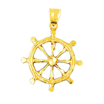 14k gold nautical ship wheel pendant