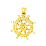 14k gold 20mm ship wheel nautical pendant