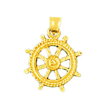 14k gold ship wheel charm