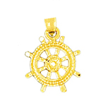 14kt gold ship wheel charm