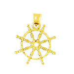 14k gold 18mm nautical ship wheel pendant