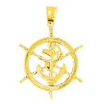 14k gold ship wheel with anchor pendant