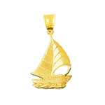 14k gold sailboat with waves charm pendant