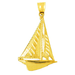 14k gold cutter sailboat charm pendant