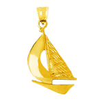 14k gold sailing sailboat pendant