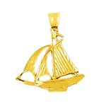 14k gold 3d cutter sailboat charm pendant