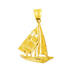 14k gold 28mm ketch sailboat charm pendant