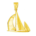 14k gold 24mm ketch sailboat charm pendant