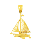 14k gold 25mm single mast sloop sailboat charm pendant
