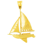 14k gold 30mm single mast sloop sailboat charm pendant