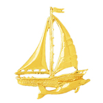 14k gold single sloop sailboat with dolphin pendant