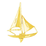 14k gold 38mm single mast sloop sailboat charm pendant