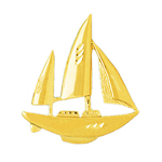 14k gold 32mm ketch sailboat charm pendant
