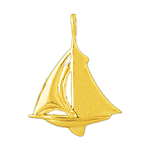 14k gold single mast sloop 24mm sailboat charm pendant