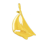 14k gold single mast sloop 22mm sailboat charm pendant