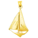 14k gold single sloop 38mm sailboat pendant