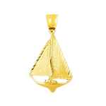 14k gold single sloop 30mm sailboat pendant
