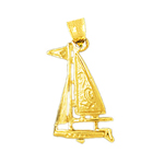 14k gold single mast sloop sailboat charm