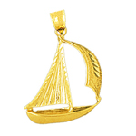 14k gold 22mm single mast sailboat charm pendant