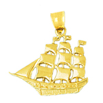 14k gold three masted 25mm sailing ship charm pendant