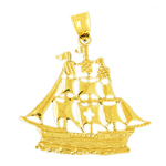 14k gold crusader sailing ship charm pendant