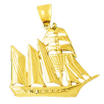 14k gold 35mm sailing ship charm pendant