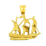 14k gold 3d crusader sailing ship charm pendant