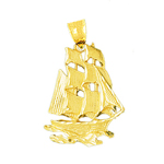 14k gold sailing ship at sea pendant