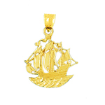 14 kt gold sailing ship pendant