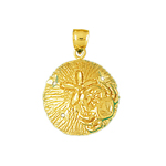 14k gold sand dollar with crab accent charm