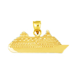 14k gold 37mm ocean liner cruise ship charm pendant