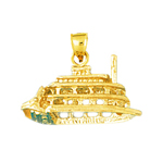 14k gold cut-out 3d river boat charm